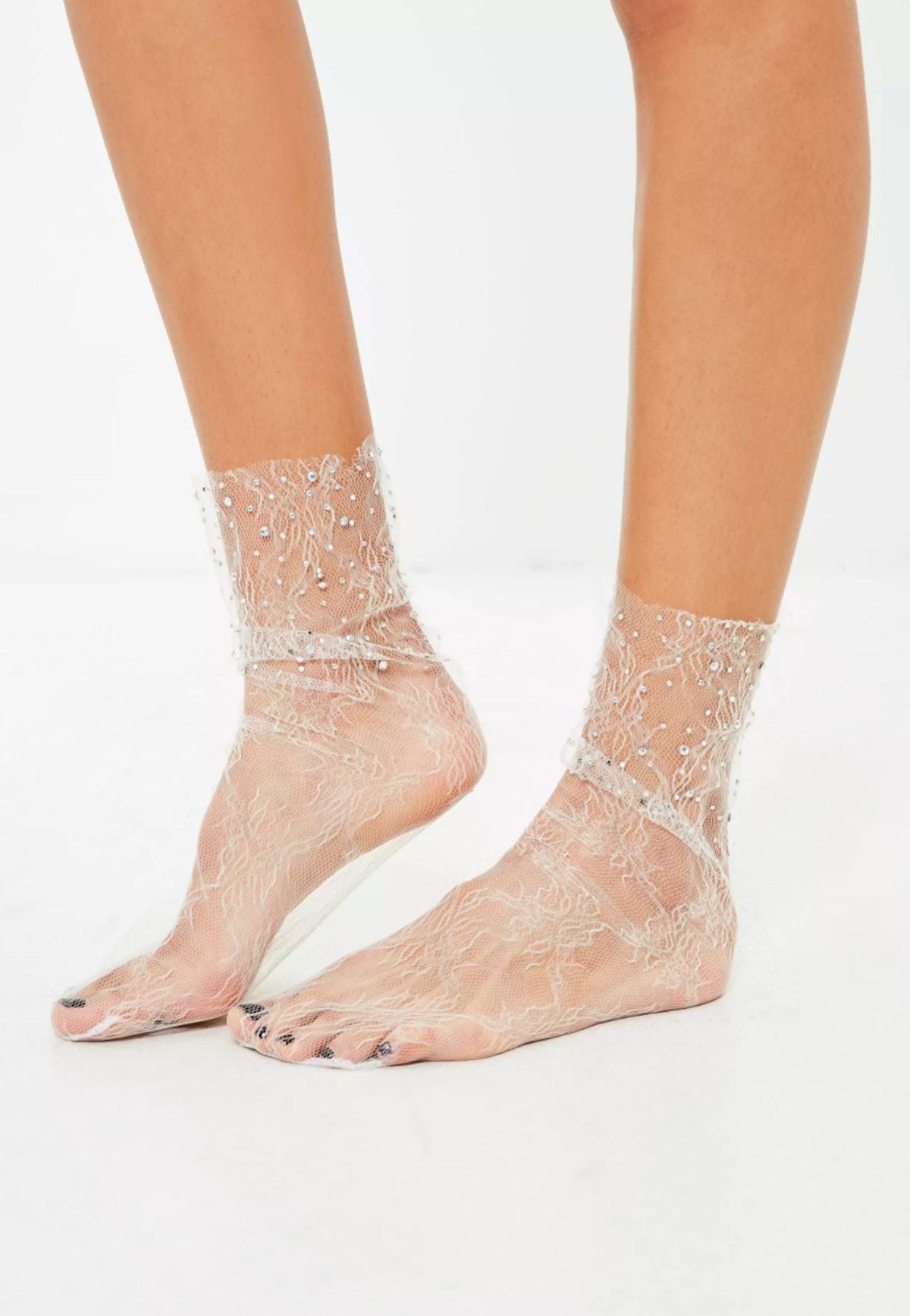 White Mesh Diamante Socks