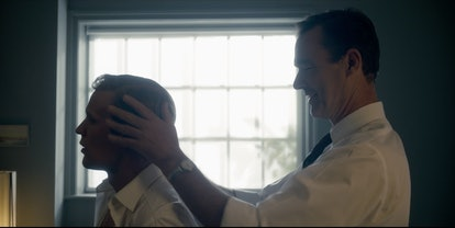Stephen Ward (played by Richard Lintern) and Prince Philip (played by Matt Smith) in The Crown