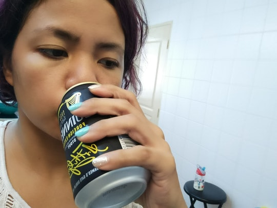 mom drinking a beer