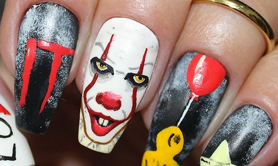 It Pennywise Nail Art Is Perfect For Halloween Manicures