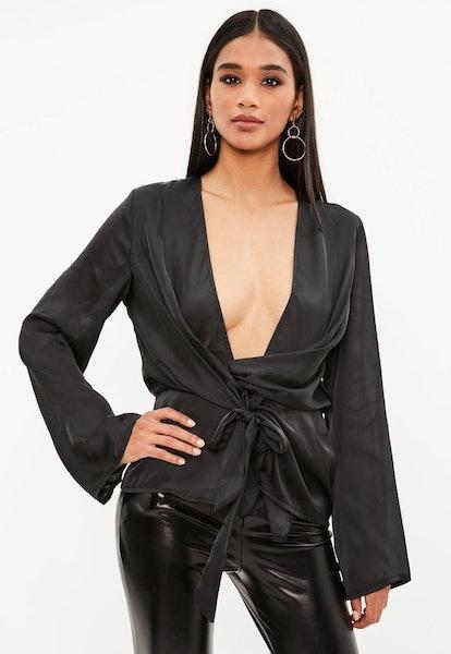 Black Sating Chiffon Drape Blouse