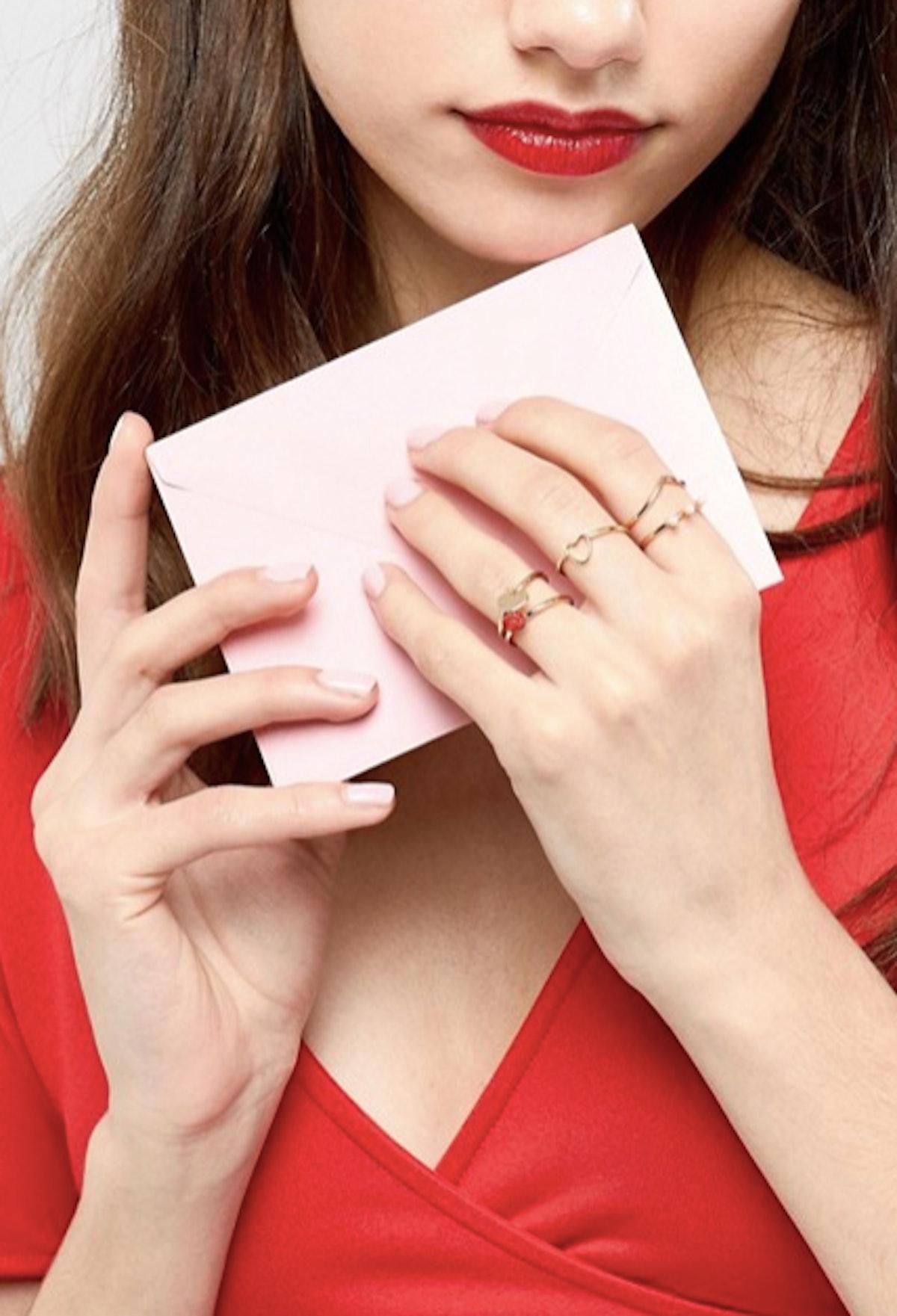 ASOS Pack of 5 Love Ring Pack