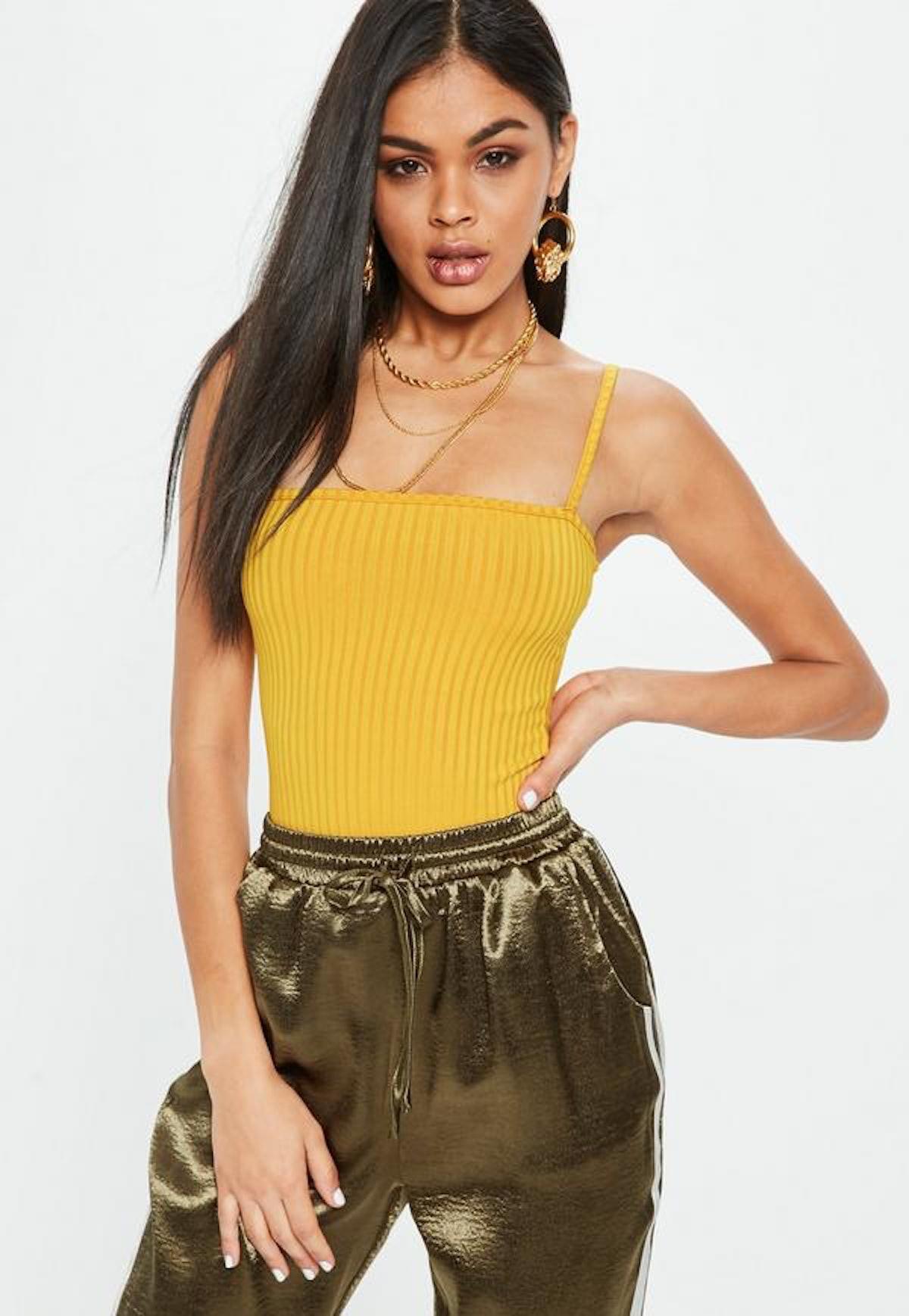 Yellow Square Neck Ribbed Bodysuit