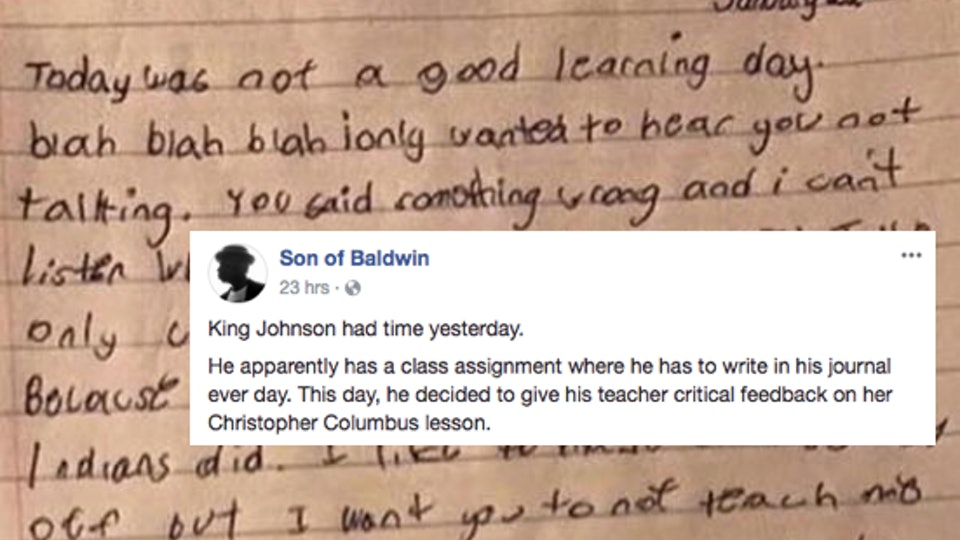 this boy s viral school journal entry about christopher columbus