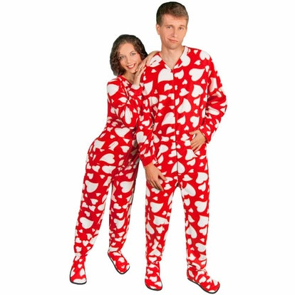 Footed Pajamas With Hearts