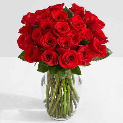 ProFlowers, Two Dozen Red Roses With Glass Vase