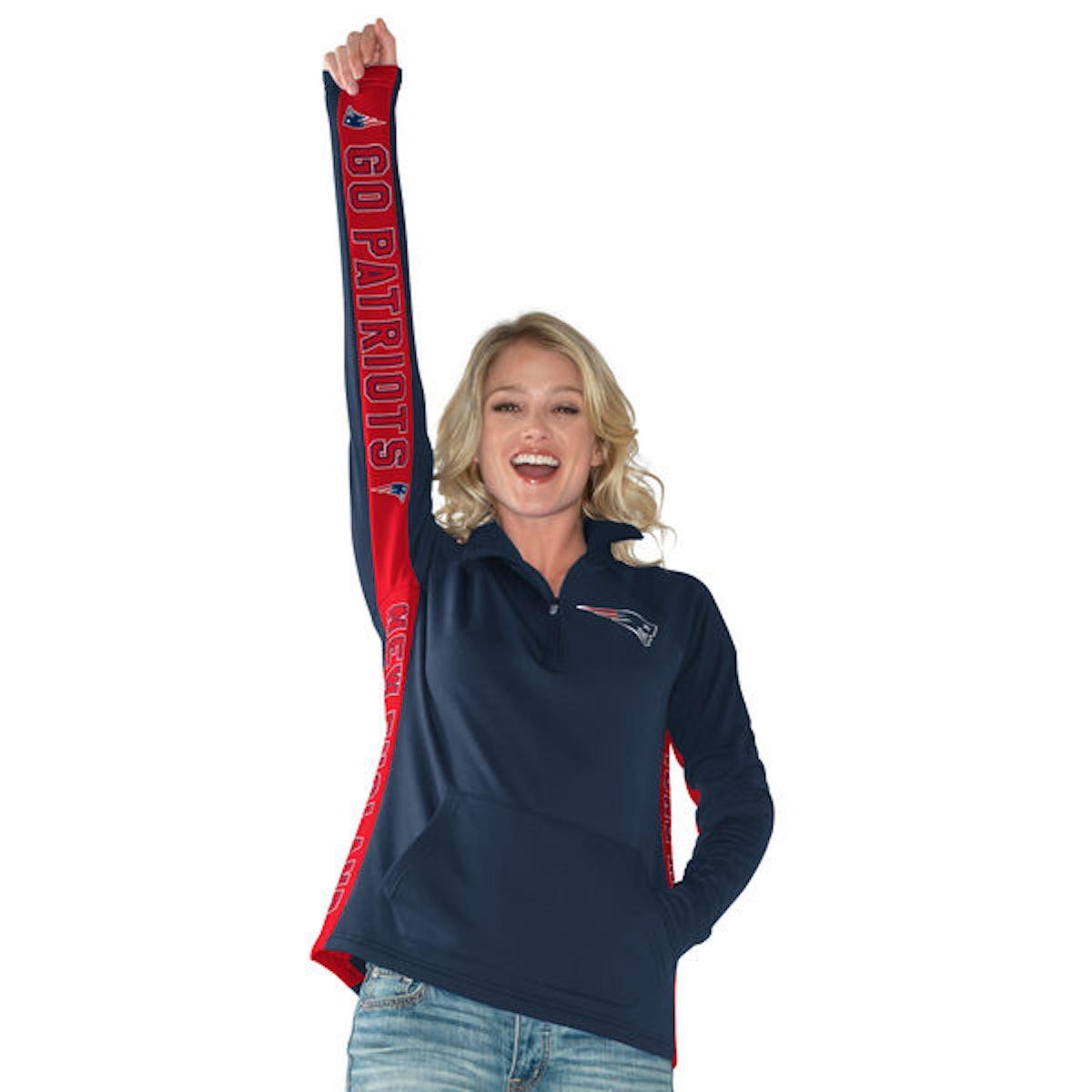 New England Patriots Hands High Women's MVP Quarter-Zip Pullover Jacket