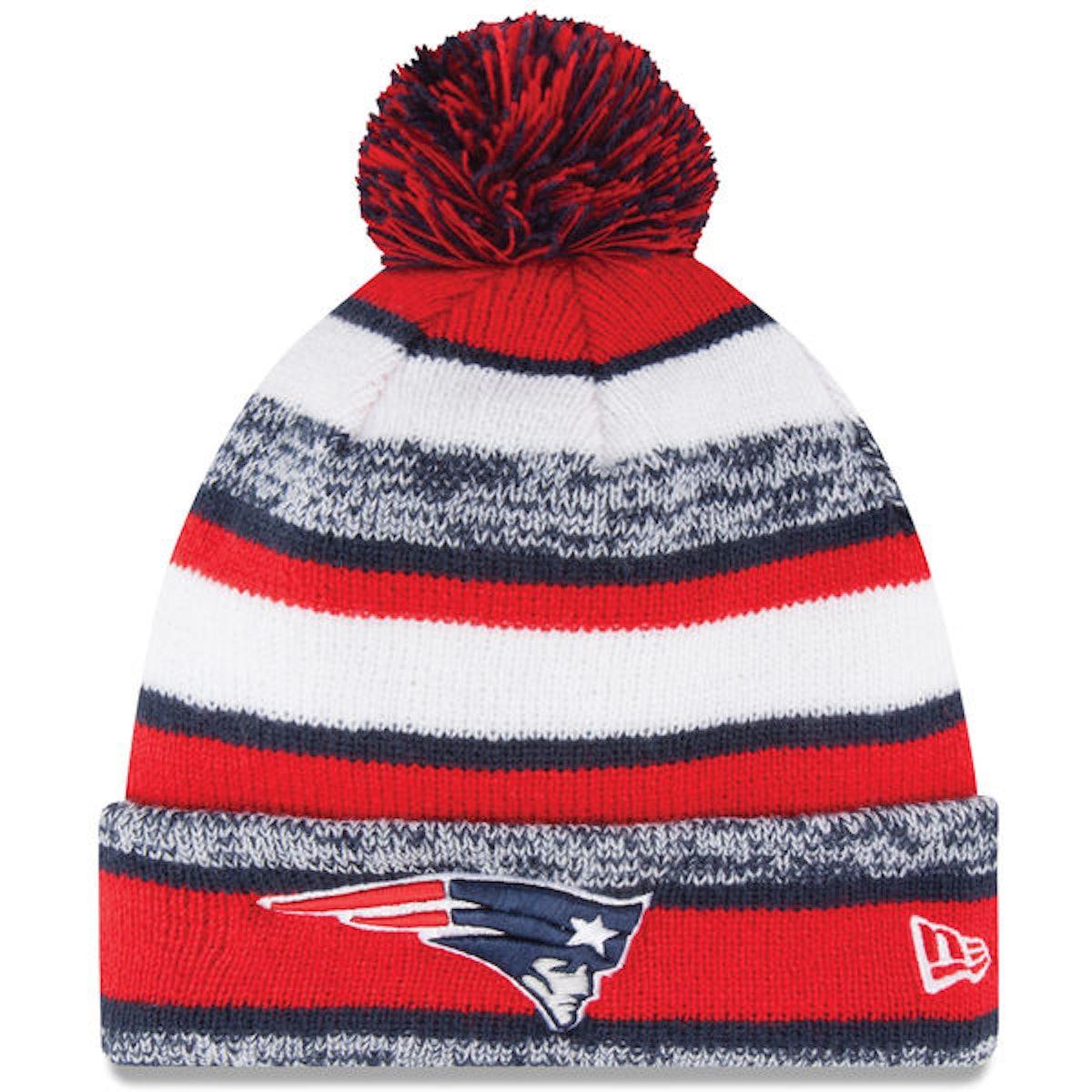 Mens New England Patriots New Era Red On-Field Sport Sideline Cuffed Knit Hat