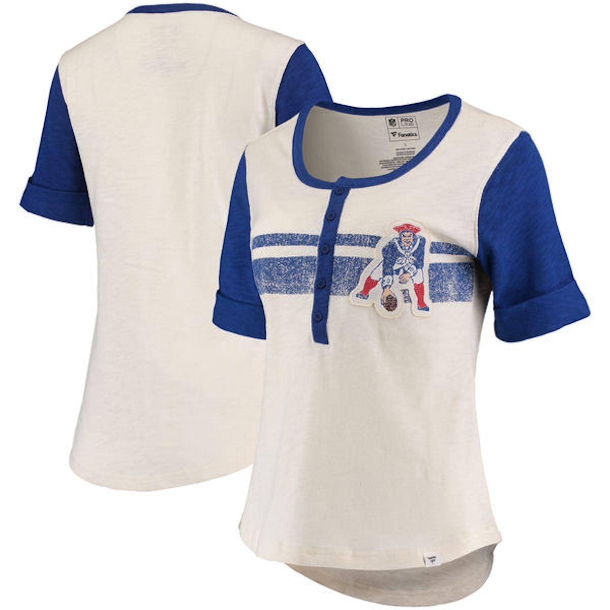 Fanatics Branded New England Patriots Women's White/Royal True Classics Drop Tail Henley T-Shirt