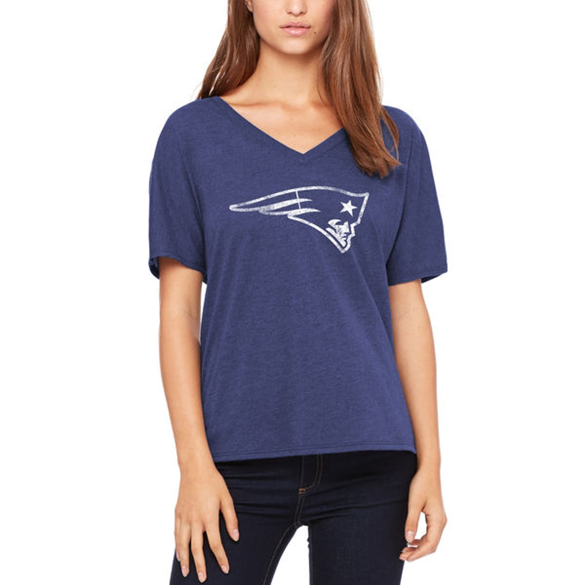 Let Loose by RNL New England Patriots Women's Navy Distressed Primary V-Neck T-Shirt