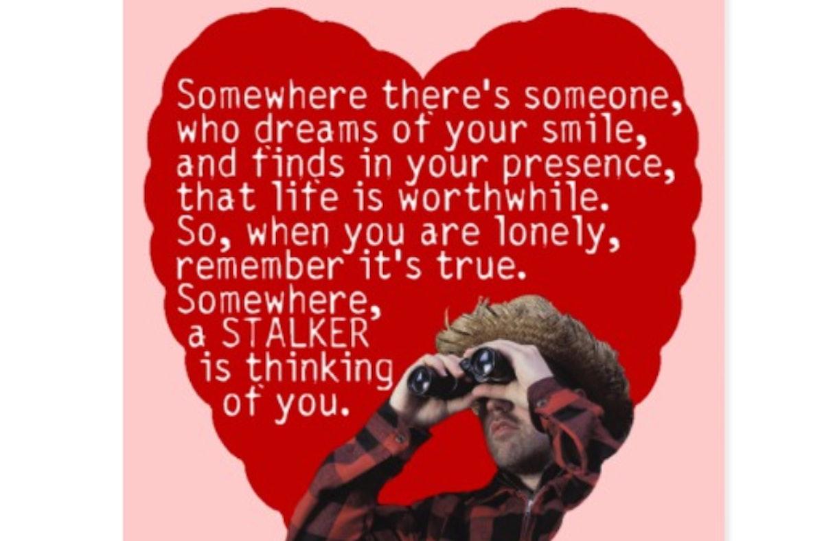 Stalker - Funny Valentines Day Postcard