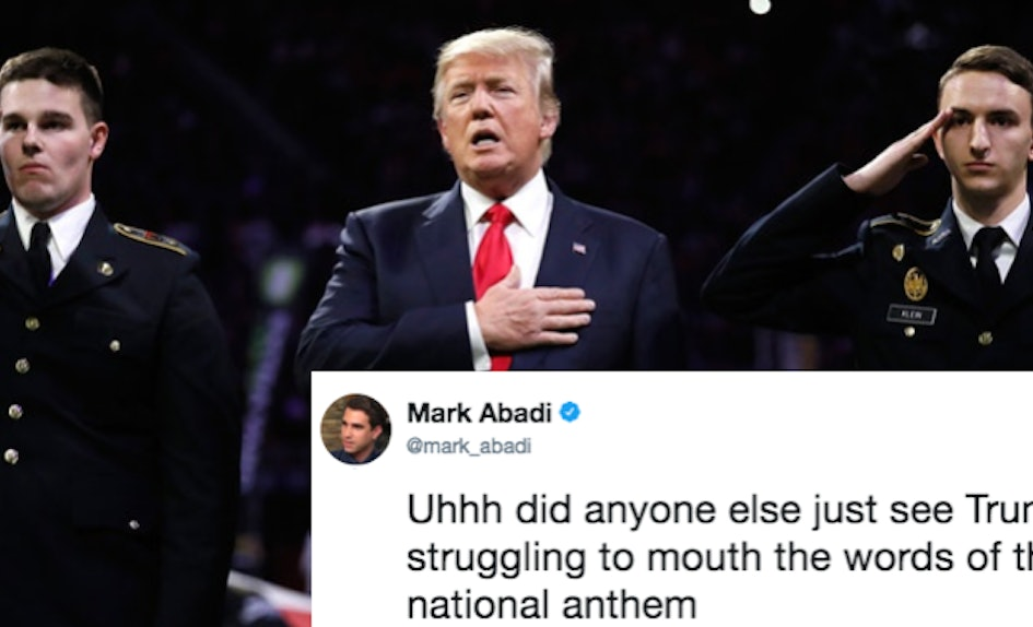 tweets about trump singing the national anthem seemingly