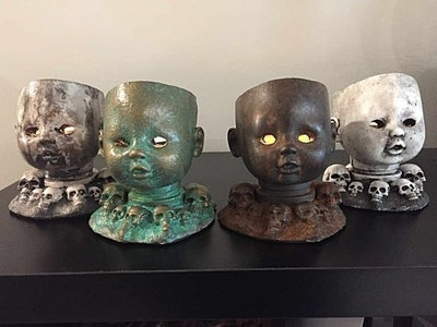 Baby Doll Head Candle Holder with Glowing Eyes