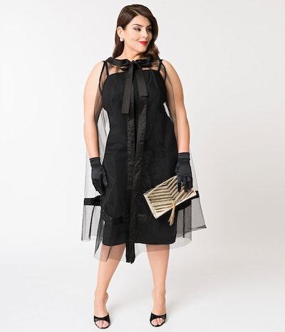 Black Magic Sheath Dress & Cape Set