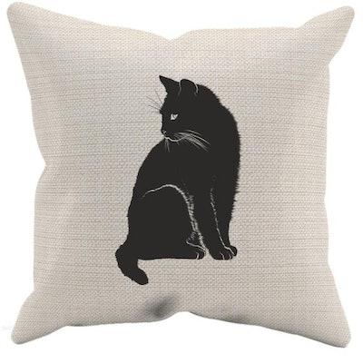 Black Cat Halloween Pillow Case