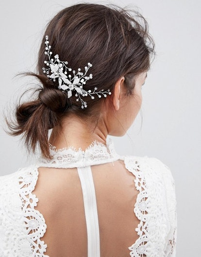 Bridal Hair Comb With Leaf And Crystals