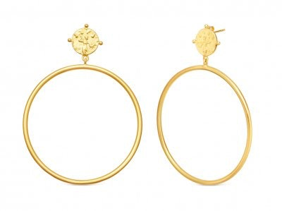 Gold Coin Chandelier Hoops