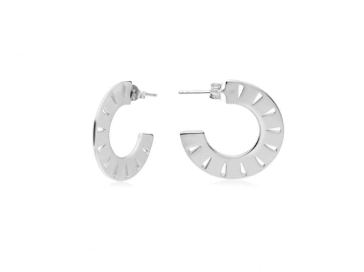 Silver Small Aztec Hoops