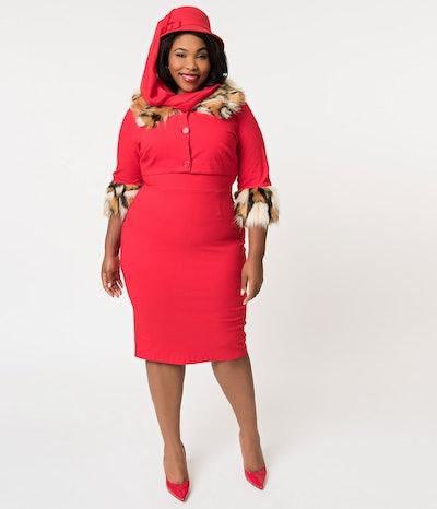 Red Matinee Fashion Sheath Dress & Jacket