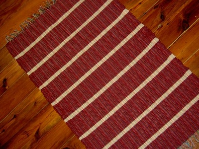 Cranberry and Cream Handwoven Wool Rug