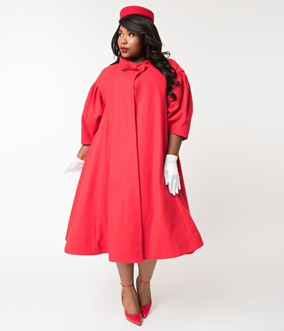 Red Flare Swing Coat