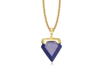 Lapis Mini Shield Necklace