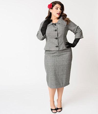 Grey Tweed Career Girl Suit Set