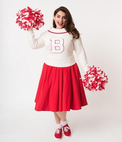Red Corduroy Cheerleader Swing Skirt
