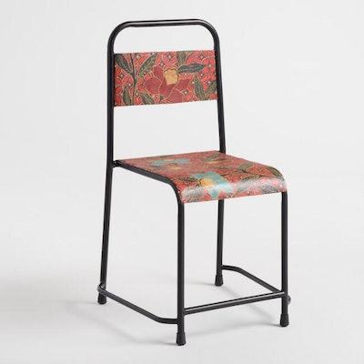 Orange Batik Metal Chair
