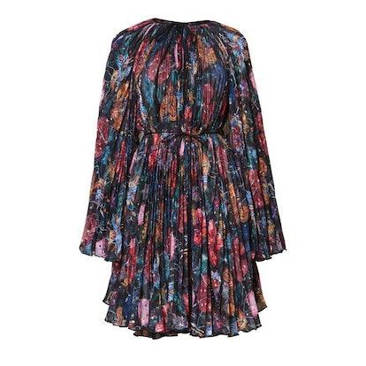Wildflower Pleated Cape Dress