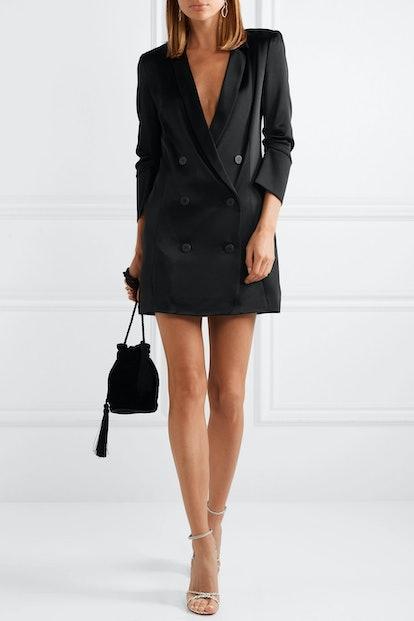 Double-Breasted Satin Mini Dress