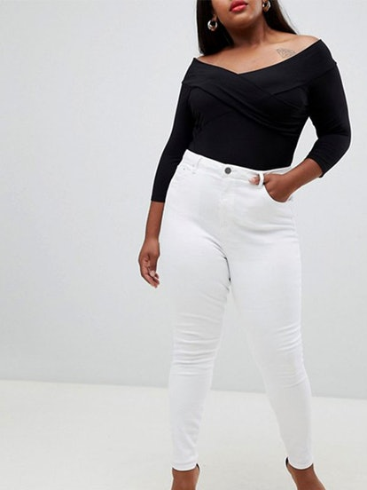 Curve Ridley High Waist Skinny Jeans In White