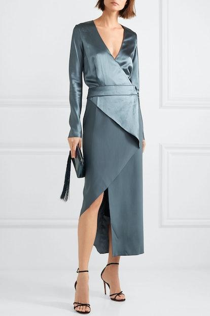 Wrap-Effect Silk Satin Dress