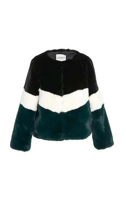 Brigitte Color-Blocked Faux Fur Jacket