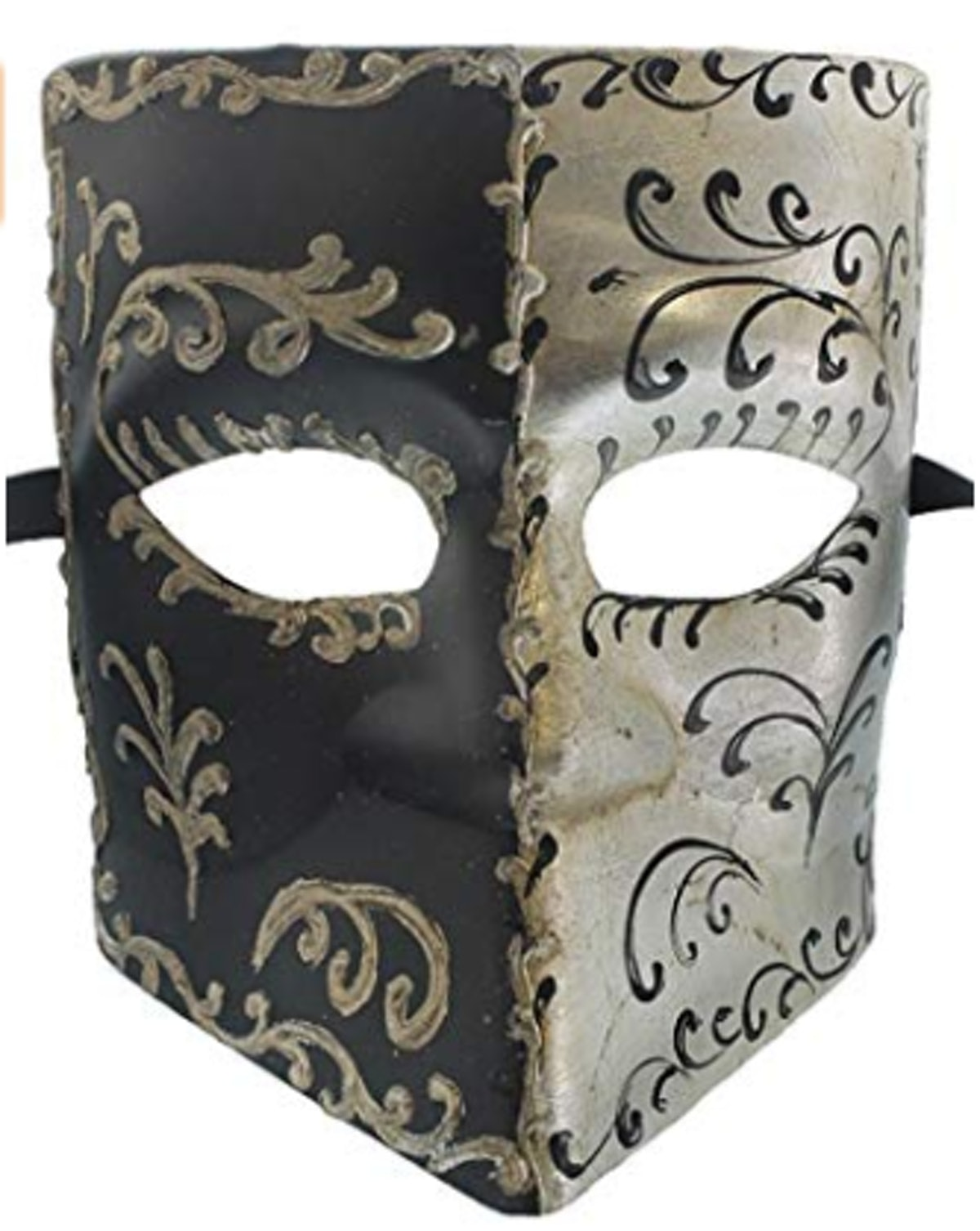 Two Faced Silver Black Tone Finish Mask