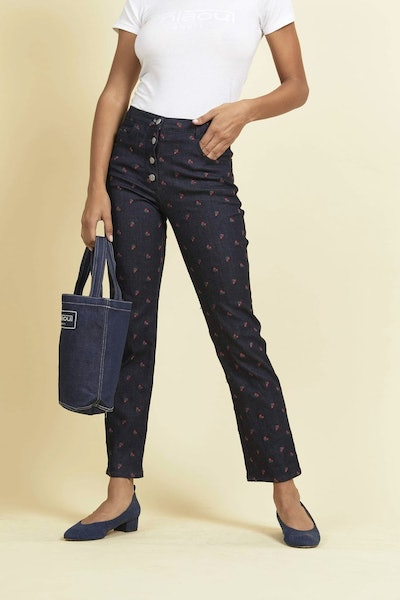 Junior Jean with Rose Embroidery