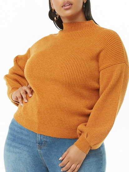 Plus Size Ribbed Knit Sweater