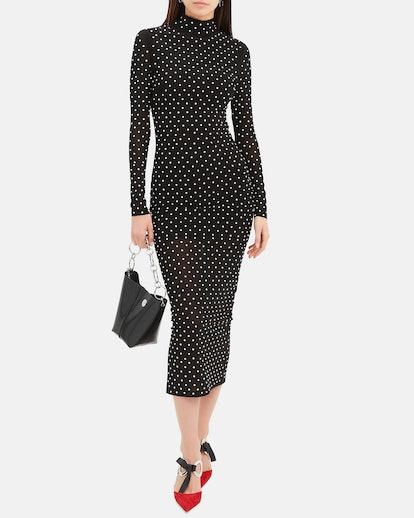 Frances Pearl-Embellished Midi Dress