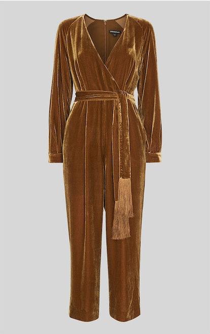 Thea Wrap Velvet Jumpsuit