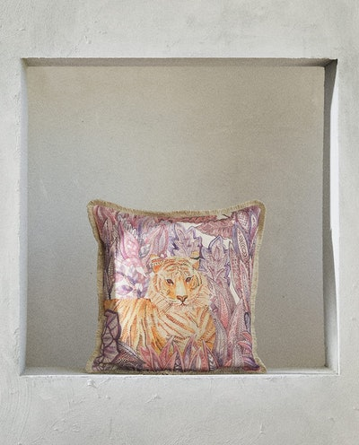 Tiger Print Throw Pillow, Mauve