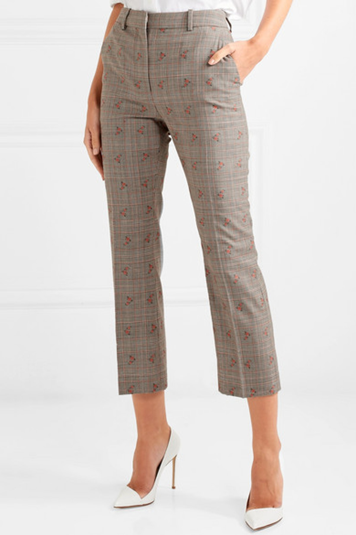 Embroidered Checked Wool-Blend Straight-Leg Pants