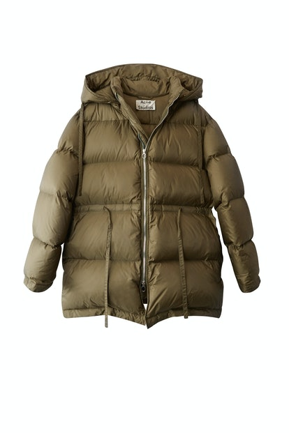Down Filled Coat in Olive Green