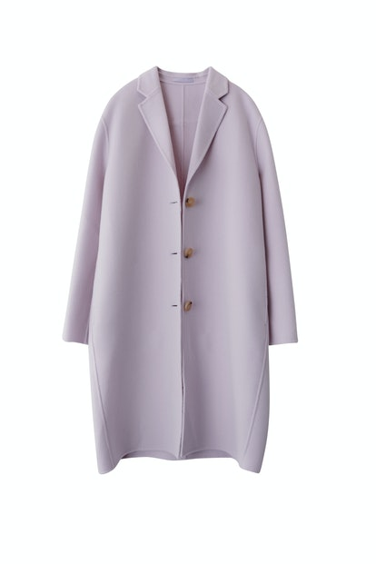 Masculine Tailored Long Coat in Lilac Purple