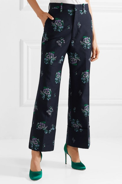 Cotton And Wool-Blend Jacquard Wide-Leg Pants