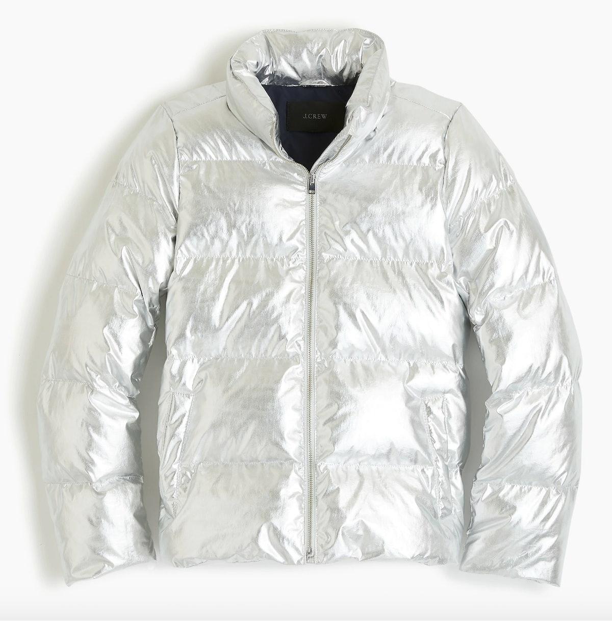 Metallic short puffer jacket with Primaloft®