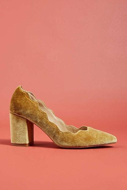Anthropologie Scalloped Velvet Heels