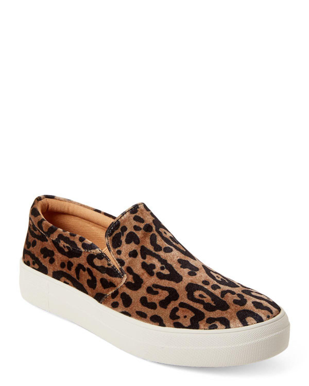 STEVE MADDEN Leopard Gills Velvet Platform Slip-On Sneakers