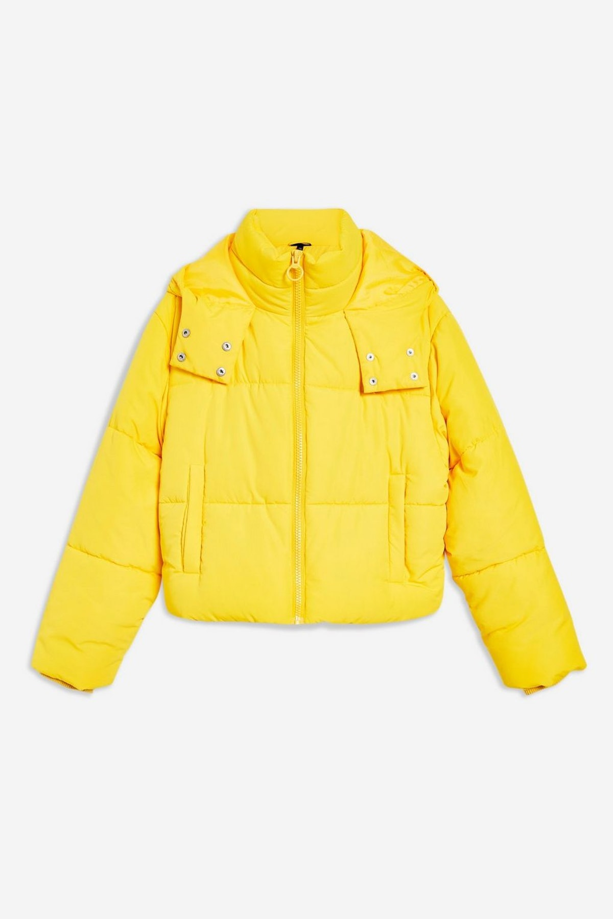 Yellow Hooded Puffer Jacket