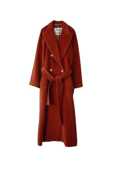 Wool Blend Coat in Rust Orange