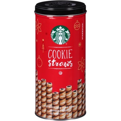 Starbucks Individually Wrapped Holiday Cookie Straws, 20 count can